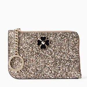 NWT Kate Spade Odette RoseGold Glitter Card Holder
